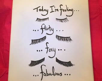 If Lashes Could Talk makeup glamour beauty quotes canvas wall hanging decor bedroom bathroom mascara