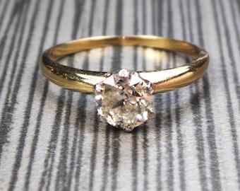 Vintage Diamond Engagement Ring Old European Cut Diamond Engagement Ring Solitaire Vintage Diamond Ring Approx .60 Carats White Rose Ring
