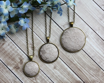 Unique Bridesmaid Necklaces, Champagne Wedding Gift, Beige Bridal Lace Necklace / Small, Medium, Or Large Pendant