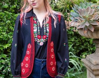 Lovely Vintage 1940's Embroidered Ethnic Wool Felt Bohemian Waistcoat Vest