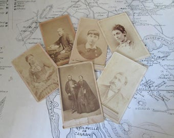 Victorian Carte de Visite Photograph Calling Cards Vintage  Photos CDV Paper Ephemera Group of Six