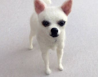 Needle Felted Miniature Dog OOAK Chihuahua Custom Pet Portrait Special Order by BibiPauk