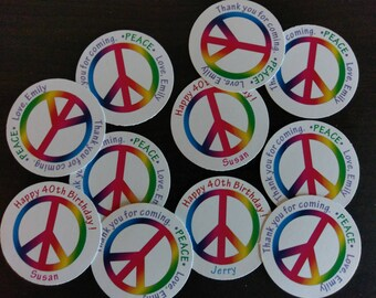 """Tags, PEACE, die-cut, perfect for gifts, party favors, thank you, birthdays, project,  2"""" circle"""