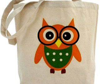 OWL Tote Bag - Cotton Canvas Tote Bag
