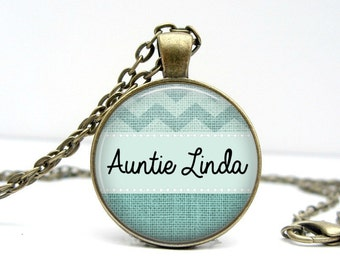 AUNT Gift Personalized Necklace - Aunt Necklace - Aunt Jewelry - Gifts for Aunts - Gifts for Her - Mint - Handmade Gifts - Birthday Gift