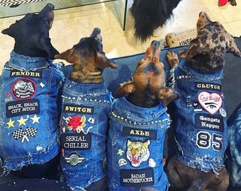 Denim Dog Jacket / Denim Dog Vest / Custom Dog Jacket / Denim Dog / Battle Vest / Cool Dog Jacket / Dog Denim / Large Breed Dog Jacket