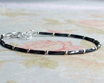 Black And Silver Bracelet, Seed Bead Bracelet, Stacking Bracelet, Simple Bracelet, Beaded Bracelet, Minimalist Bracelet, Dainty Bracelet