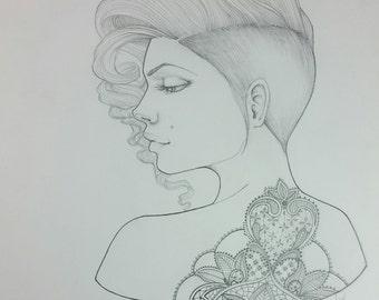 Lacy 11 x 14 pancil drawing bloom girl original Jamie Dougherty Designs