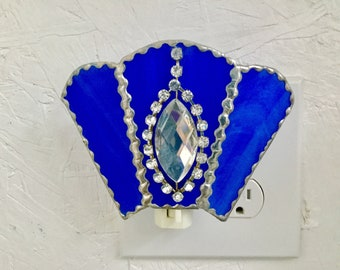 Blue stained glass nightlight with rhinestomes