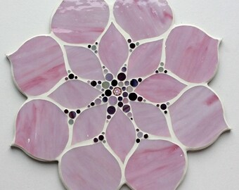 Flower shaped handmade glass mosaic table
