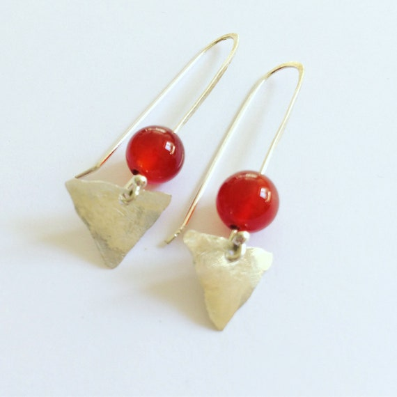 Carnelian Arrowhead Sterling Silver Earrings - Triangle - Geometric - Healing - Boho - Gypsy - Self Love - Chakras