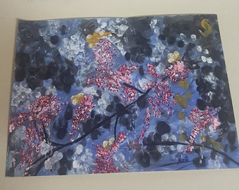 Sale Winter Flowering Acrylic Painting On Paper Handmade Wall Art High Quilty NE