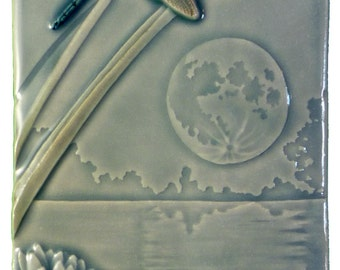 Dragonfly Moon, art tile, 4 x 8 inches