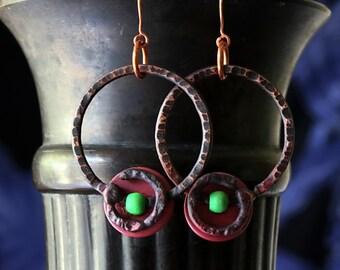 Boho Tribal Hoops, Copper Earrings, Hammered Copper Gypsy Tribal Hoops Rustic Handmade, Hoop Earrings, Copper Jewelry, Gift Idea