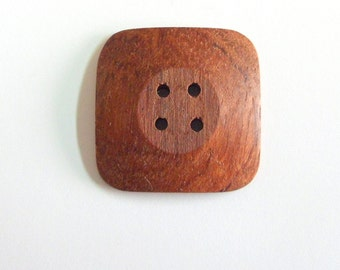 """Handmade 1"""" Buttons Bubinga Wood Buttons Natural Color Buttons Hand Crafted Square Buttons Sewing Buttons Knitting Buttons Craft Supply"""