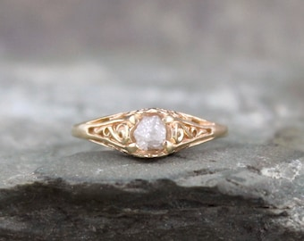 Raw Diamond Ring - 14K Yellow Gold Antique Filigree Design - Rough Uncut Diamond - Conflict Free Diamond Engagement Rings - April Birthstone