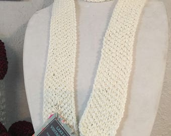 Hand Knit Off White Silk and Cotton Scarf