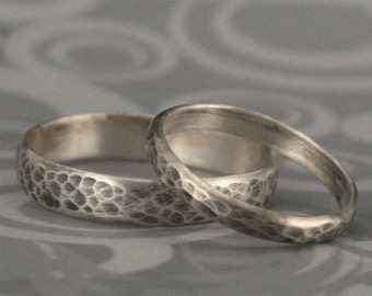 Hammered Bands--Matching Sterling Silver Wedding Ring Set--Oxidized and Brushed Rings--Rustic Wedding Bands