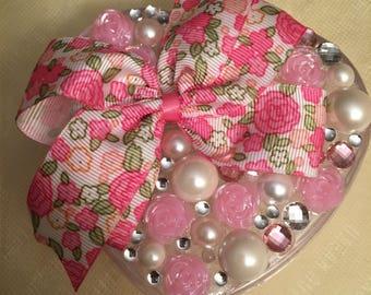 Floral pink &pearl keepsake/Jewelry /trinket box