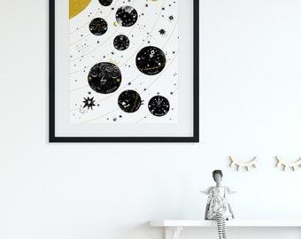 Solar System Print, Scandinavian Nursery Wall Art Print, Planets Print Space Nursery Decor, Black and White Nursery Print, Cute Kids Art