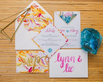 Modern Watercolor Succulent & Marble wedding invitation suite - SAMPLE ONLY