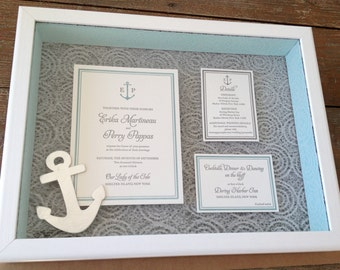 "Custom Keepsake Wedding Invitation Shadow box 12 x 16"""