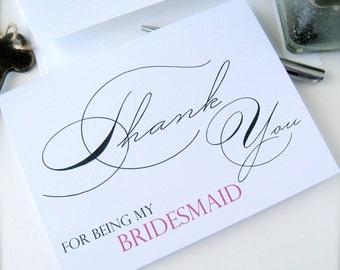 Bridesmaid thank you card, maid of honor card, flower girl thank you card, bridal party thank you card, wedding party thank you (ty1)