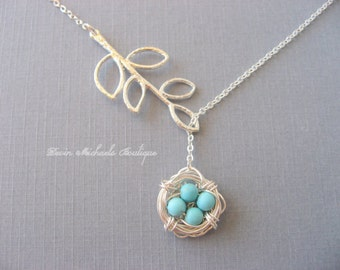 Mothers Day Necklace, Silver Bird Nest Necklace, Silver Lariat Branch Necklace, Turquoise Necklace, Silver Jewelry