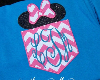 ADULT Size Minnie OR Mickey Mouse Ears Monogrammed Faux Pocket Tee Shirt - Lots of Fabrics to Choose From - With BOW or WithOUT Bow