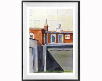 Paysage urbain, urbain, Original Fine Art, peinture, art géométrique, couches, Architecture, peinture, WatercolorByMuren, 18 x 12 à l'aquarelle