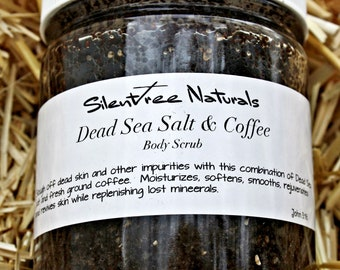 Dead Sea Salt & Coffee Body Scrub - Natural Skincare, Salt Scrub, Organic Coffee Scrub, Mineral-Rich Rejuvenating Scrub, Natural Products