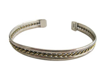 Taxco Sterling Silver & Brass Mixed Metals Cuff Bracelet