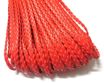 1 m of red faux leather braided 5x2mm
