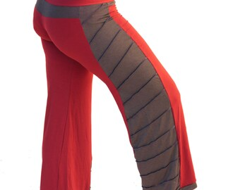 Red and Olive Elven Pants - Festival Clothing, Pixie Clothing, Fairy Clothing, Elven Clothing, Yoga Pants