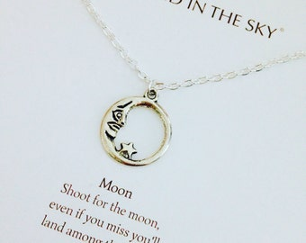 Shoot For The Moon Circle Gift Card inspirational Quote Necklace