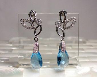 Dangle Earrings, Swarovski Crystal Earrings, Rhinestone Earrings, Silver Earrings, Blue Drop Earrings, Bridal Jewelry, Post, Jewellery