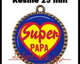 Bronze round Cabochon pendant 25 mm epoxy resin - Super Dad (783) - celebrate fathers day, father, gift, man