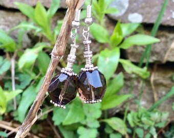 Smokey Quartz faceted gemstone earrings Sterling silver beads and earwires. Irish made craft gift