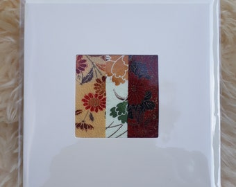 Vintage Kimono fabric greetings card 'Ready to Frame'