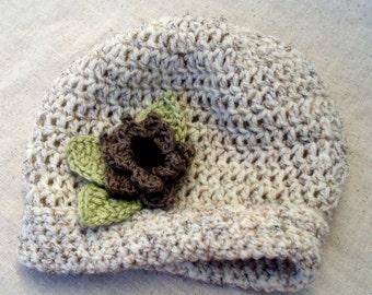 Crocheted Vanilla Nutmeg Baby Hat w/ Flower