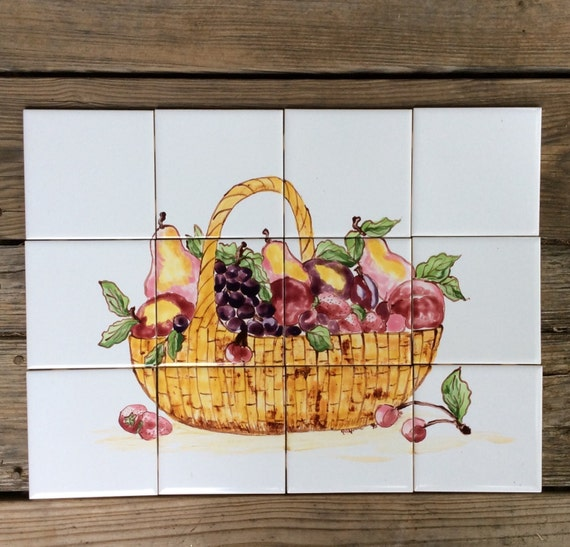 Kitchen Tiles Fruits Vegetables: Sale On Tile Mural Hand Painted Tile Mural Original Design