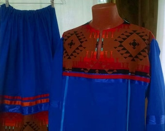 Royal Blue Native style 2 piece women's outfit and smudge kit