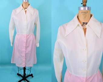 1960s babydoll dress | white pink dotted swiss button down dress | vintage 60s dress | W 30""