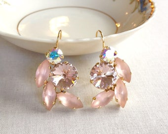 Swarovski blush pink earrings, frosted, vintage rose, leaf, leaves, morganite, Bridesmaid gift, wedding party gifts, statement earrings