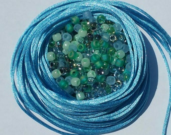 Kumihimo Bead Mix - Sea Grass Mix - 40g size #6 Seed Beads - Denim Blue Satin Cord + Silver Kumihimo Magnet