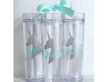 Custom skinny tumblers, unicorn, personalized cups, birthday gift, wedding gift, wedding favors, destination wedding, unicorn cup
