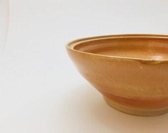 Large Rustic Orange-Glazed Bowl