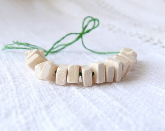 9x7 mm natural wooden rectangular beads 50 pcs eco friendly