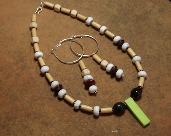 Zambia Dried Seed Beads, Wood,  Crystal and Lime Gemstone Pendant .925 Sterling Silver Necklace and Earrings