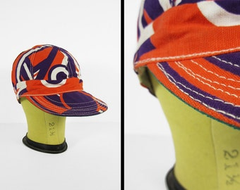 Vintage 60s Welder's Cap NOS Purple Psychedelic Orange Cotton Deadstock - Size 6 1/2